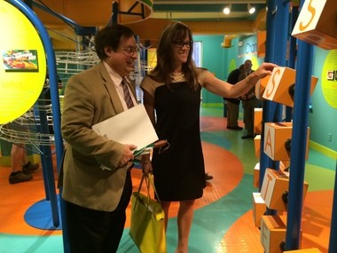 Joseph Carvalho, a consultant and former president of the Springfield Museums, speaks with Dr. Seuss Enterprises executive Susan Brandt during a tour of the Lyman & Merrie Wood Museum of Springfield History. Brandt was in Springfield to discuss plans for a new Dr. Seuss Museum.