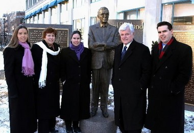 Three of Edward P. Boland's children and his wife Mary pose with Sen. Edward M. Kennedy in front of the statue honoring their father at Main and Harrison streets in Springfield in this 2005 file photograph. Family members, from left, are: Kathleen, Mary Egan Boland, Martha and Ed Jr.