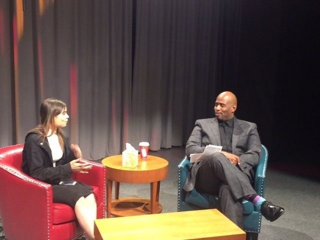 "Springfield- Stefan Davis, left, talks with Jessica Romero during a taping of ""Against All Odds."""