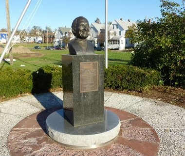 This undated submitted photo shows the bust of former state Rep. Anthony M. Scibelli that stood outside the Mt. Carmel Society social club before it was stolen sometime over the weekend. April 18, 2016.