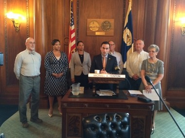Springfield City Council President Michael Fenton, center at podium, is shown announcing the creation of an advisory committee regarding a proposal to adopt the Community Preservation Act. He is joined by Councilor Kateri Walsh, far right, and the five members of the committee, left to right: Robert McCarroll, Shannon Rudder, Lidya Rivera-Early, Kenneth Shea and Ralph Slate.
