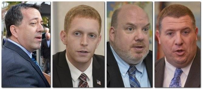 Left to right: State Rep. Aaron M. Vega, D-Holyoke, Holyoke Mayor Alex B. Morse, state Sen. Donald R. Humason, R-Westfield, and Holyoke City Council President Kevin A. Jourdain.
