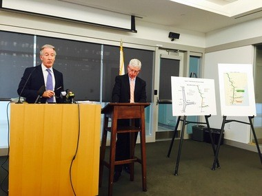 U.S. Rep. Richard Neal, D-Springfield, left, and Pioneer Valley Planning Commission Executive Director Timothy Brennan discuss a new federal study that proposes an expansion of passenger rail in the Northeast, with Springfield as a key connecting station.