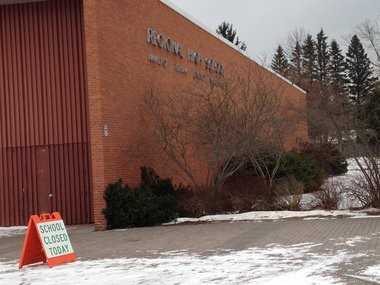 A sign outside Amherst Regional High School on Jan. 27, 2014.