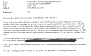 An email sent by Deputy Chief Mark Anthony to Springfield Police Commissioner John Barbieri on Oct. 17, 2016.
