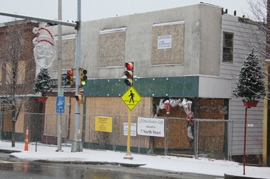 """The boarded up structure in downtown Ware along Main St. at the North St. intersection was noted in the Pioneer Valley Planning Commission """"slum and blight"""" report"""