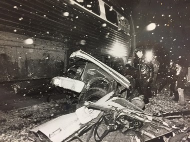 The scene of the Dec. 10, 1982 crash at the Birnie Road and Tina Lane crossing that killed West Springfield residentFrancis C. DesJarlais.
