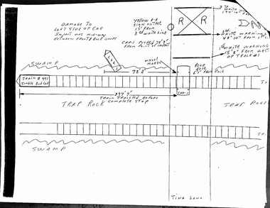 A diagram included in the police report for a June 20, 1983 collision between a train and a car at the Birnie Road and Tina Lane crossing in Longmeadow. Five men escaped from the car before impact, and were uninjured.