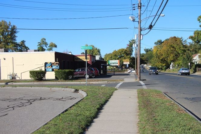 The approach toward Nathan Bill's Bar and Restaurant past Murphy's Pop Stop, where the fight took place.