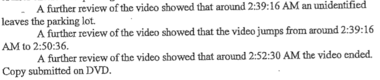 A section of the IIU report describing missing footage from a Bank of America security camera.