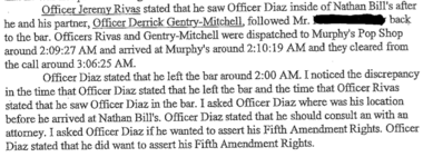 A section of the IIU report showing contradictory statements on when Officer Jose Diaz left Nathan Bill's Bar and Restaurant.