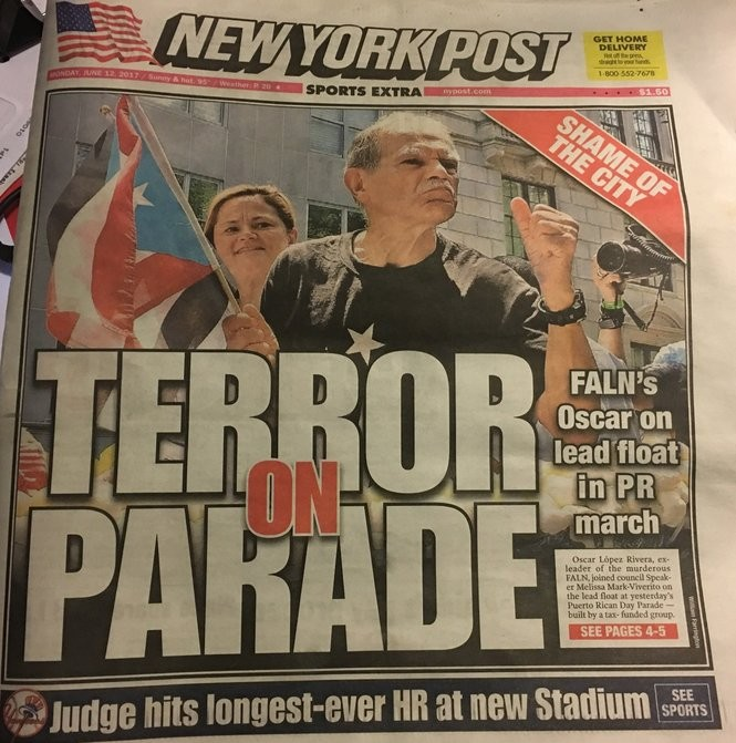 Here's the New York Post's front page on June 12, 2017 reporting on Oscar Lopez Rivera's participation in the previous day's Puerto Rican Parade in the Big Apple.