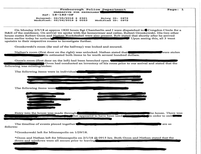 caf146997f9 The police report states that police responded to the house around 6:20  p.m. on Monday. Gronkowski's room was secure but both his roommates  appeared to have ...