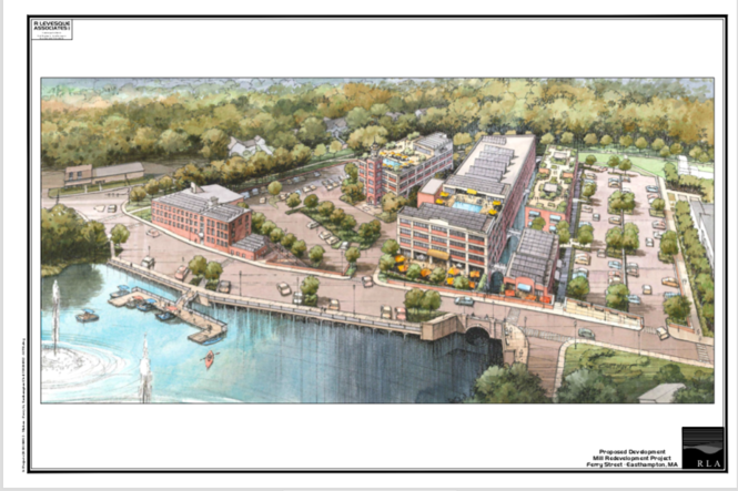 An architect's conceptual rendering of developer Michael Michon's plans for the One Ferry Street mill complex in Easthampton.