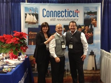 From left: Gail Kulkin, sales manager for the Hilton Stamford Hotel & Executive Meeting Center in Stamford, Conn.; Jeffrey Musumano, national sales manager for associations of the Connecticut Convention & Sports Bureau; and Michael Van Parys, bureau president at the Association Forum of Chicagolandâs Holiday Showcase.