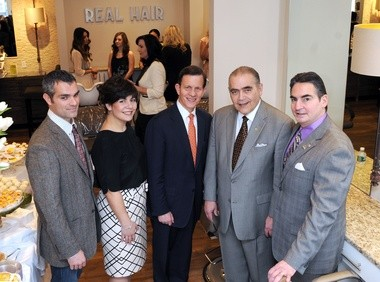 01/14/13 Springfield- Republican Photo by Mark M.Murray - Massachusetts State Treasurer Steven Grossman, center, visited the new location for Bellucci Salon & Day Spa at 673 White Street in Springfield Monday. The co-owners of the business, Silver and Maria Serra, left, Grossman, William Wagner, President of Chicopee Savings, and Mayor Domenic J. Sarno. Grossman was there to tour the business which was aided by a loan from Chicopee Savings Bank, and leveraged through the Treasury's Small Business Banking Partnership.