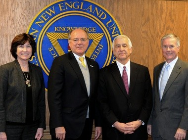 01.28.2013   SPRINGFIELD -- On hand for the announcement of a gift to Western New England University from the estate of Frances and Norman Cohen are, left to right, Dean Julie Siciliano, WNEU President Anthony S. Caprio, attorney Jeffrey Sagalyn, a longtime friend of Frances and Norman Cohen, and Kevin S. Delbridge, chairman of the WNEU Board of Trustees.
