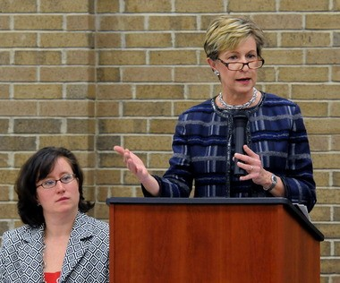 Massachusetts State Auditor Suzanne Bump, right, speaks at the podium during the Business@Breakfast for the Affiliated Chambers of Commerce of Greater Springfield, held at The Cedars on Wednesday. Patricia Canavan, left, from United Personnel, was the host of the event.