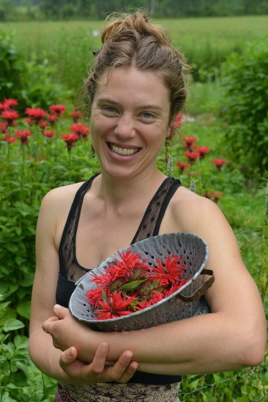 Brittany Wood Nickerson, herbalist, health educator and owner of Thyme Herbal in Amherst, holds a bowl of Bee Balm flowers.