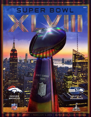 The Super Bowl XLVIII game program from the Hazen Paper Co. in Holyoke.