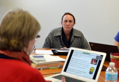 Ashley Martin, Executive Director, Massachusetts, for the Achievement Network has an office in The Business Growth Center at Springfield Technology Park. Here, she attends a meeting in her office. (Don Treeger / The Republican)