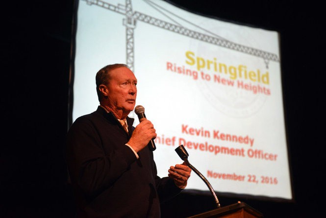 "11.22.2016 | SPRINGFIELD -- The City of Springfield and the Regional Chamber of Commerce hosted the ""Rising to New Heights"" event to showcase current economic development initiatives in Springfield on Tuesday at CityStage. This is Kevin Kennedy, Springfield's Chief Development Officer."