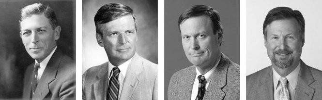 Leadership of M.L. Schmitt Electric, Inc., from 1923 to today: Mansuit L. Schmitt, Lawrence V. Schmitt, Larry Schmitt, and Tom Schmitt.