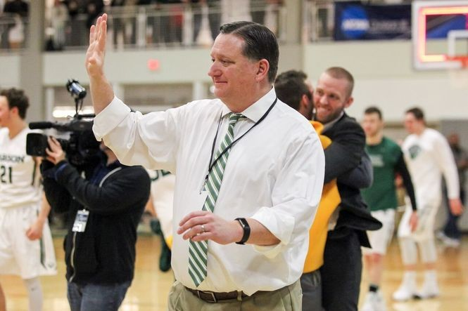 Babson coach Stephen Brennan after his team qualified for its second Final Four in the last three seasons.