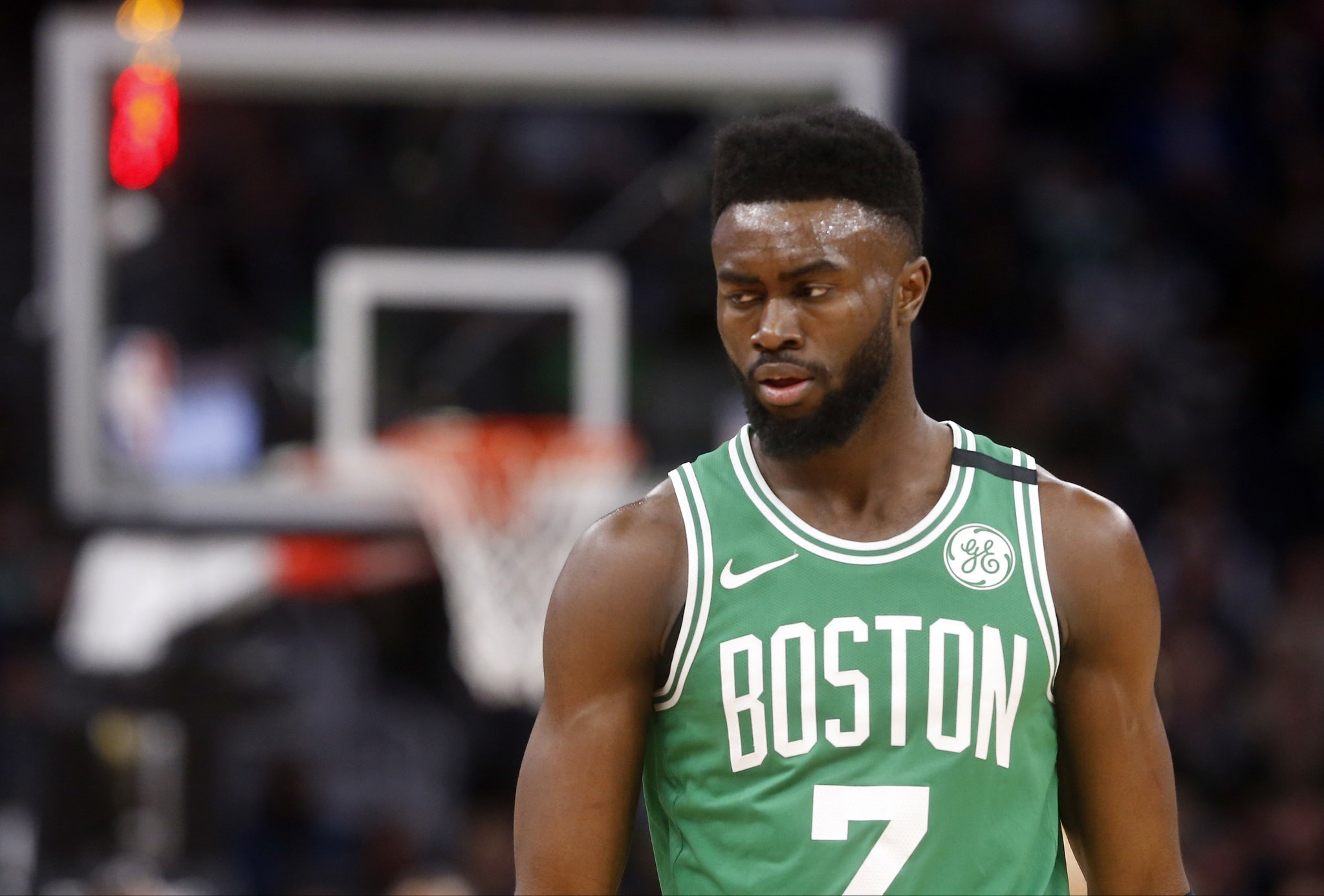 Jaylen Brown, Boston Celtics wing, bites on young camper's pump fake, gets scored on