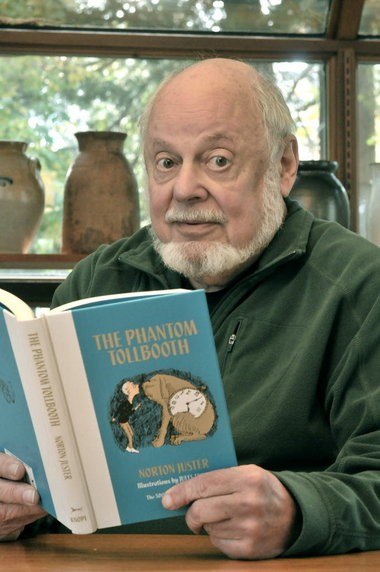 "Amherst resident Norton Juster with his legendary childrens book, ""The Phantom Tollbooth."""