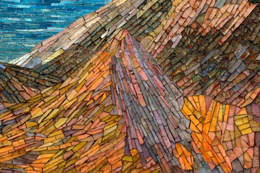A closeup look at the Dream Garden glass mosaic in the Lobby of the Curtis Center in Philadelphia.
