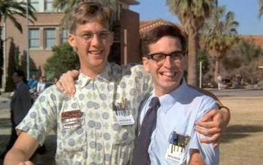 "Anthony Edwards, left, and Robert Carradine in a scene from the 1984 comedy ""Revenge of the Nerds."""