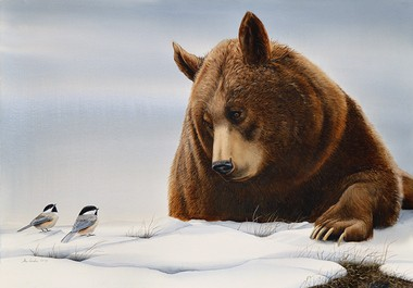 """""""Grizzly with Chickadees"""" by Turi MacCombie"""