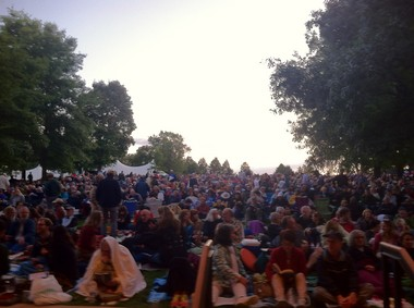 Thousands of people filled the lawn behind Ozawa Hall on the grounds of Tanglewood in Lenox for Thursday night's concert.