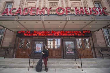 Heather Maloney in front of Northampton's Academy of Music in Northampton, where she'll play an album-release show on April 24.