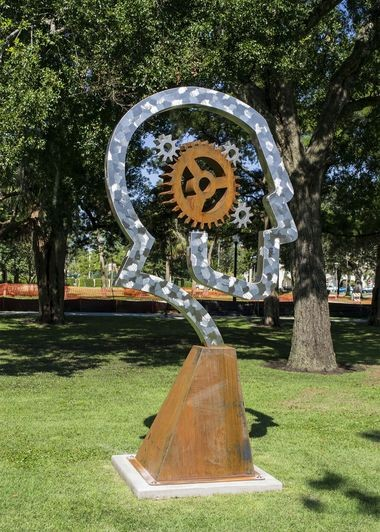 """Artist Dale Rogers's public sculptures are already on display in 60 communities and 19 states. Seen here is """"Think and Be Free."""""""