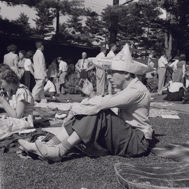 The photo from 1947 of a man wearing a paper hat is Hyams' favorite image in the book.