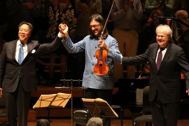 Yo Yo Ma, Leonidas Kavakos and Emanuel Ax and take a bow after Thursday's concert at Ozawa Hall at Tanglewood in Lenox.