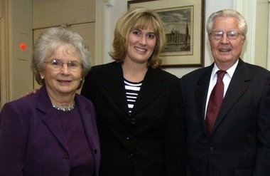 Ann Staffanson, Kristin Staffanson-Campbell, and Robert Staffanson all of Bozeman, Mont. during a visit to Springfield in October 2003.