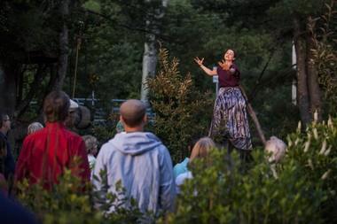 "Milena Dabova performs in the ""rainforest"" at Double Edge Theatre in Ashfield."