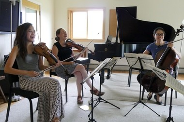 From left, Eunice Kim, Lily Francis and Alice Yoo last week rehearsing at the Marlboro Music Festival in Marlboro, Vermont.