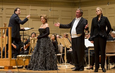 "Conductor Andris Nelsons leads the Boston Symphony Orchestra in Strauss's ""Der Rosenkavalier"" with Renee Fleming, Franz Hawlata and Susan Graham at Symphony Hall in Boston on Thursday."