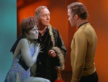 "From left, Yvonne Craig (""Marta""), Steve Ihnat (""Garth of Izar"") and William Shatner (""Capt. James T. Kirk"") in a scene from ""Whom Gods Destroy,"" a January 1969 episode of ""Star Trek."""