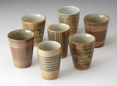 Potter James Guggina made these whiskey cups. His work will be part of The Asparagus Valley Pottery Trail. (Photo by John Polak)