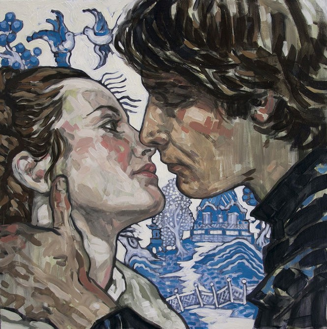 """""""You Don't Like Nice Men,"""" oil on canvas; 20-by-20 inch. Rebecca Leveille from the exhibit """"Crush"""" by Rebecca Leveille"""