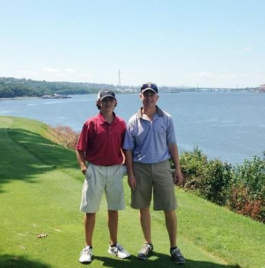 Matteo Godek (left) and father Dean Godek tied for second place at the Massachusetts Father & Son Junior Division Championship.
