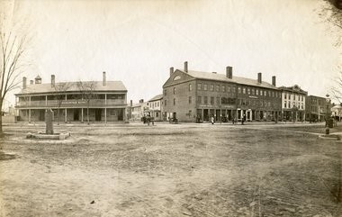 State and Walnut Street in the late 19th Century with Rockingham House (left) and Gunn Hall (right)