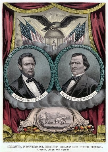 This Currier & Ives etching served as a campaign poster coming out of the June 1864 presidential convention in Baltimore that nominated Abraham Lincoln for a second term and Andrew Johnson as his running mate. For Civil War series.