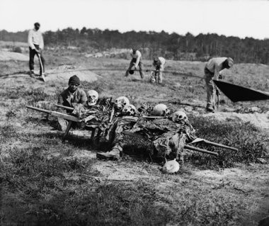 Cold Harbor, Va. African Americans collecting bones of soldiers killed in the battle of June 1864.