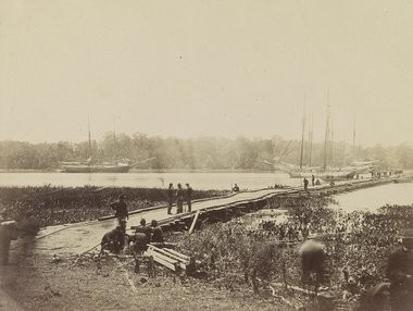 The 10th Mass. Regiment crossed this pontoon bridge across the James River marching from Cold Harbor to Petersburg.